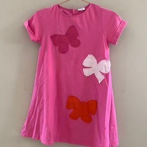 il Gufo pink butterfly dress cotton short sleeve 5